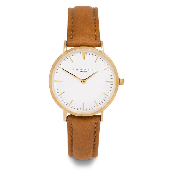 Elie Beaumont Oxford Small Tan/Gold Case Watch
