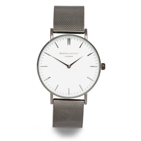 Elie Beaumont Mr Beaumont Mens Gun Metal Mesh Watch