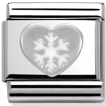Nomination Charm Silver Heart With Snowflake