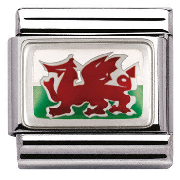 Nomination Silver Welsh Flag Charm
