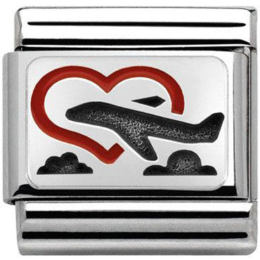 Nomination Silver Heartnwith Plane Charm
