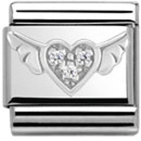 Nomination Charm, Silver Winged Heart with CZ