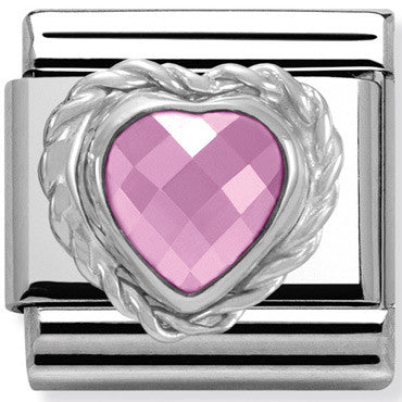 Nomination Charm Pink Heart With Silver Twist