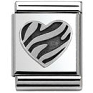 Nomination Silver Striped Heart Charm Big