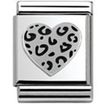 Nomination Silver Leopard Heart Charm Big