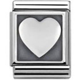 Nomination Silver Heart Charm Big With Oxidised Detail