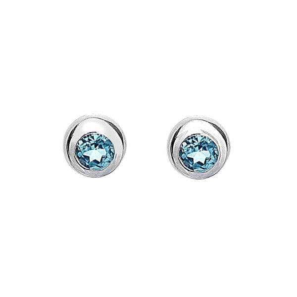 3777B Seagems Sterling Silver Round Blue Topaz Stud Earrings