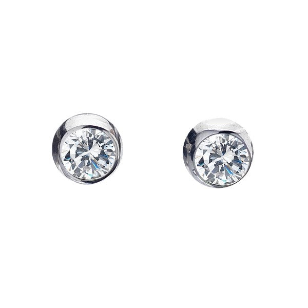 3778CZ Seagems Silver Round Cubic Zirconia Stud Earrings