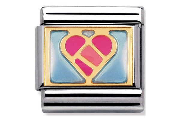 Nomination Charm Geometric Enamel Heart