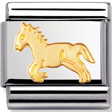 Nomination Charm Gold Horse