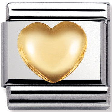 Nomination Charm Raised Heart Gold