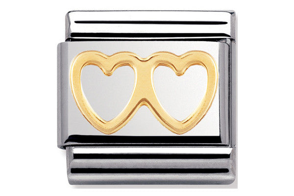 Nomination Charm Gold Double Heart