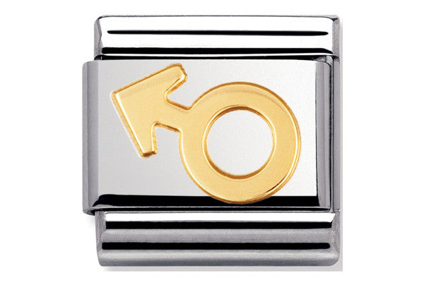 Nomination Charm Gold Male Symbol
