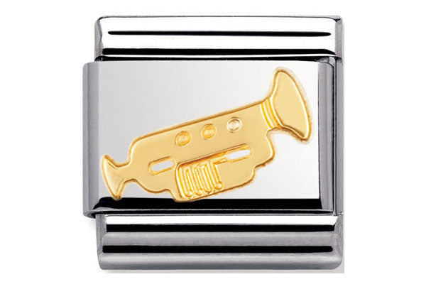 Nomination Charm Gold Trumpet