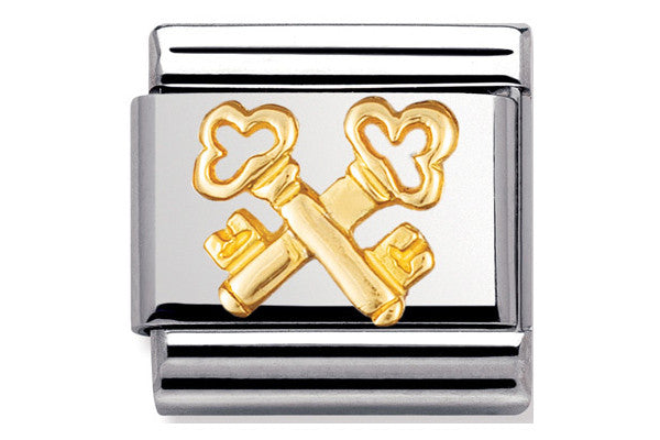 Nomination Charm Gold Cross Keys
