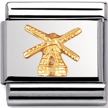 Nomination Charm Windmill, Gold Relief