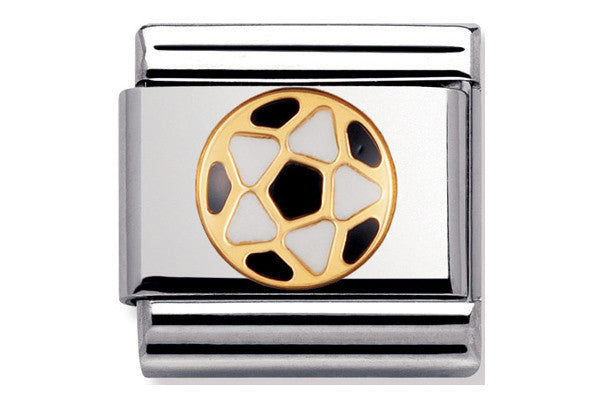 Nomination charm enamel black white football