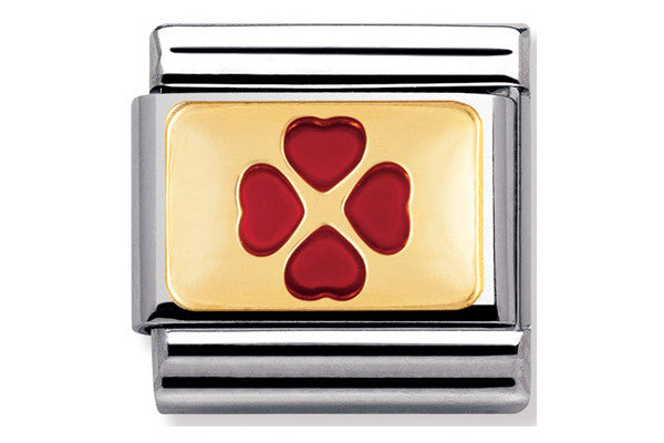 Nomination Charm Red Enamel Clover