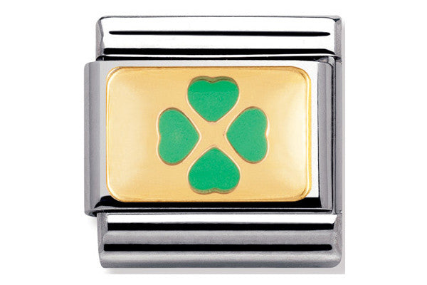 Nomination Charm Green And Gold Enamel Clover
