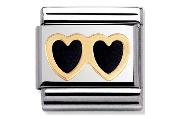 Nomination Charm Black Enamel Hearts