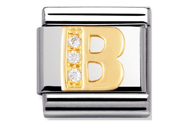 Nomination Charm Gold Cz Letter B