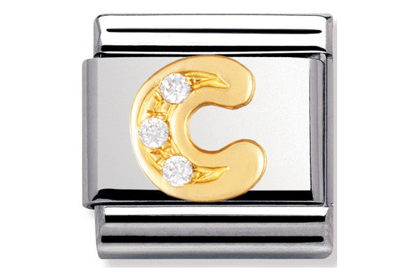 Nomination Charm Gold Cz Letter C