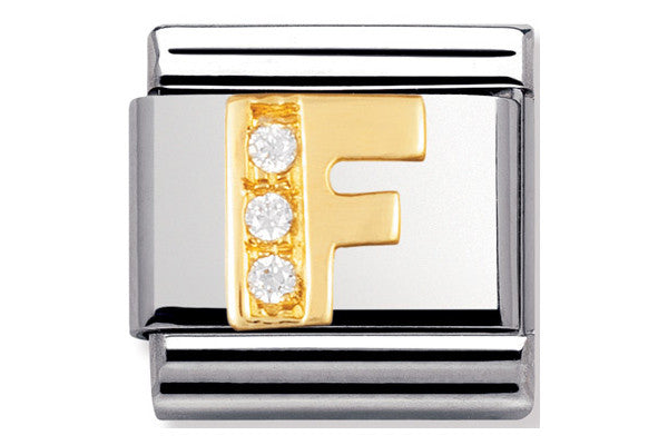 Nomination Charm Gold Cz Letter F