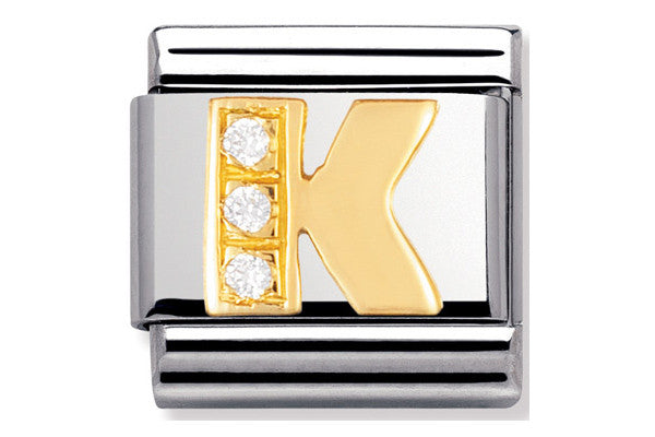 Nomination Charm Gold Cz Letter K