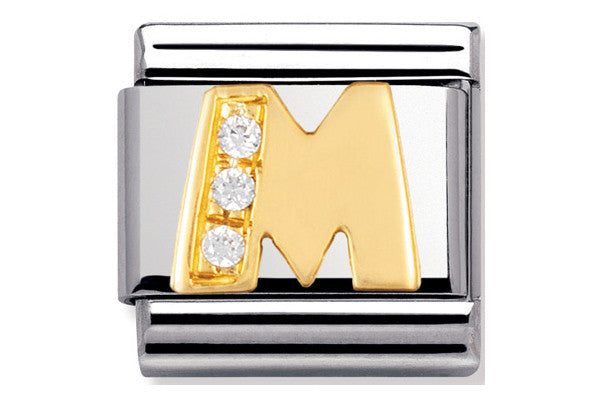 Nomination Charm Gold Cz Letter M