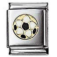 Nomination Black And White Football Charm Big