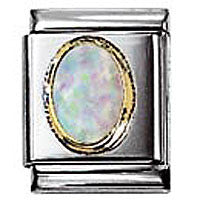 Nomination Oval White Opal Charm Big