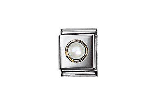 Nomination Round White Mother Of Pearl Charm Big
