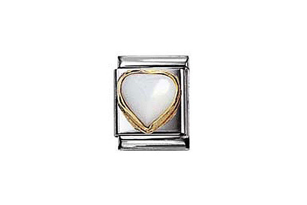Nomination White Mother Of Pearl Heart Charm Big