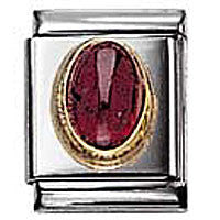 Nomination Oval Garnet Charm Big