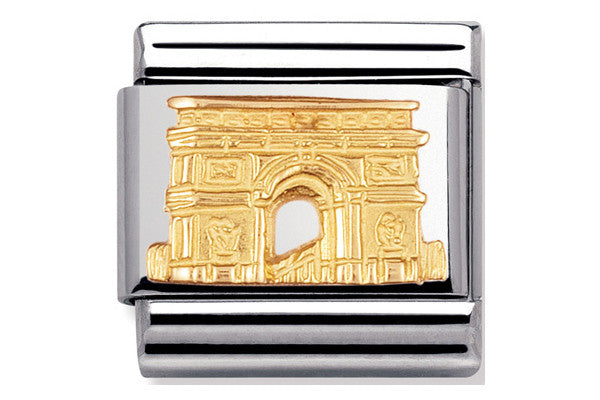 Nomination Charm Arc De Triomphe, Gold Relief