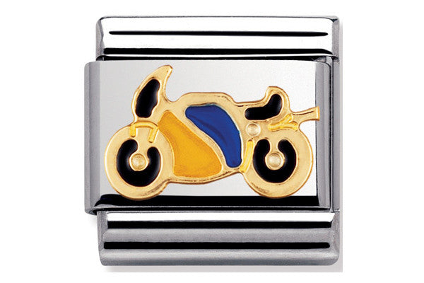 Nomination Charm Enamel Blue And Yellow Motorbike