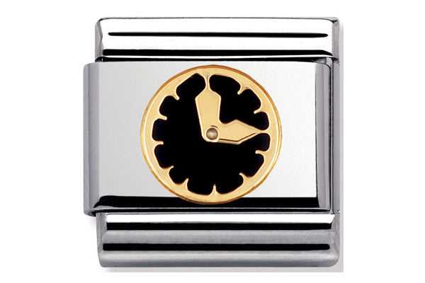 Nomination Charm Black Enamel Clock