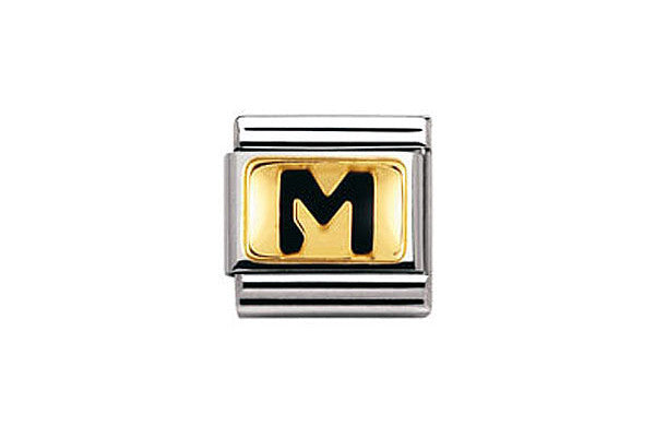 Nomination Charm Black Letter M