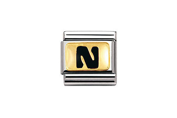 Nomination Charm Black Letter N