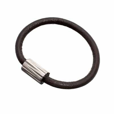 Edblad Dean Titanium Brown Leather Bracelet