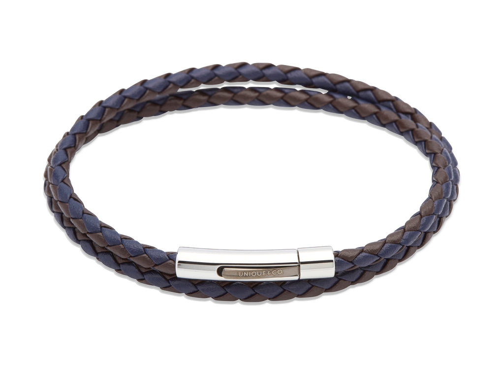B317DB Dark Brown and Blue Leather Bracelet