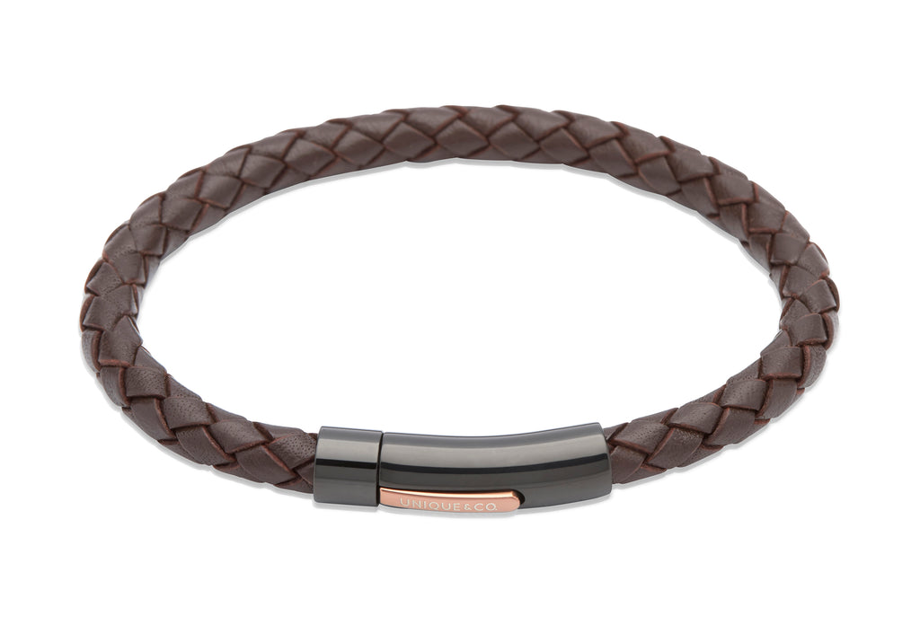 B320DB Unique Dark Brown Leather Bracelet