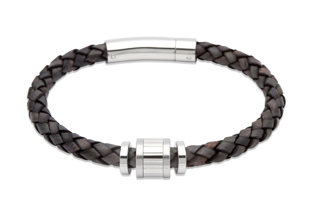 B323ABL Unique Antique Black Leather Bracelet