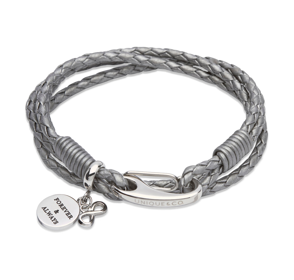 B329SG Unique Silver Grey Leather Bracelet