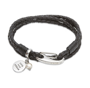 B331BL Unique Black Leather Bracelet