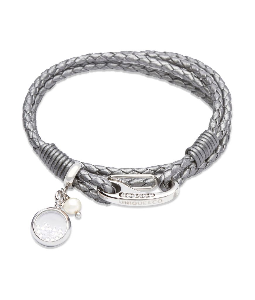 B333SG Unique Silver Grey Leather Bracelet