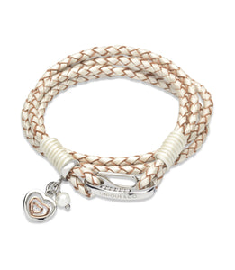 B334PE Unique Pearl Leather Bracelet