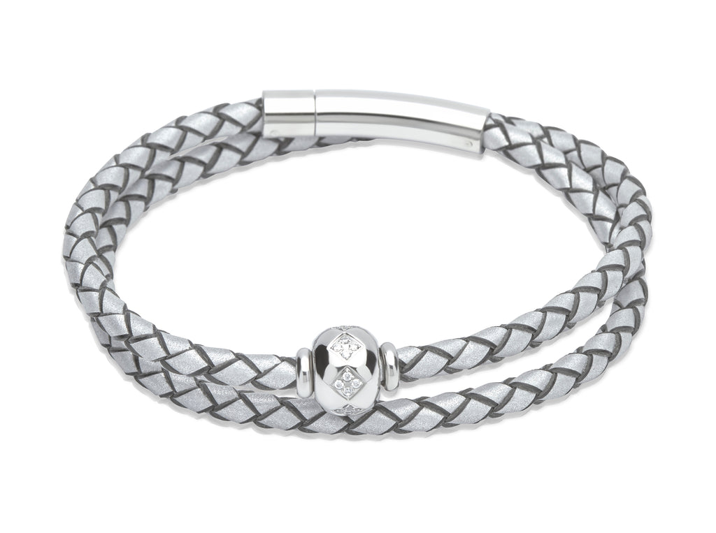B339LS Unique Luminous Silver Leather Bracelet