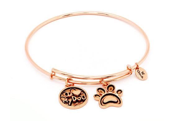 CRBT0713RG Chrysalis I Love My Dog Expandable Bangle