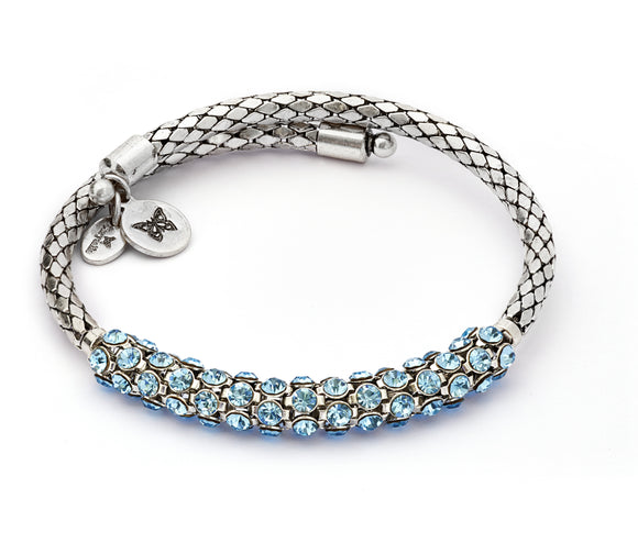 CRWB0001SP-C Energy Aquamarine Crystal Wrap Bangle